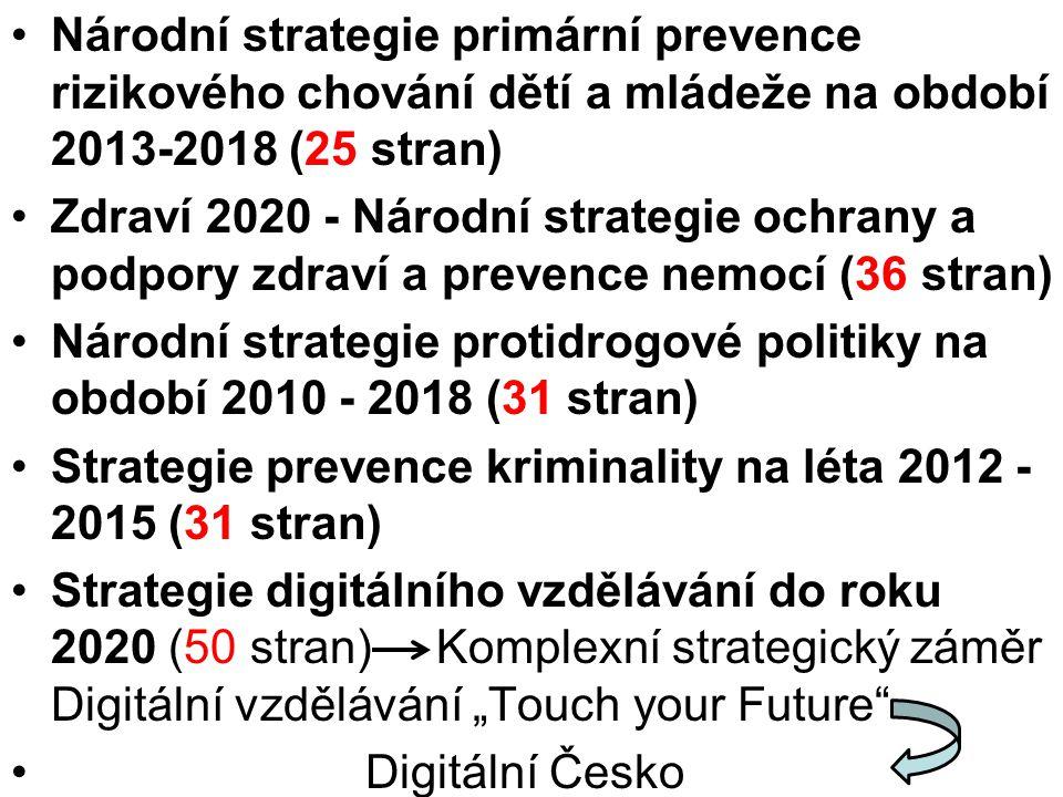 """Národní strategie primární prevence rizikového chování dětí a mládeže na období 2013-2018 (25 stran) Zdraví 2020 - Národní strategie ochrany a podpory zdraví a prevence nemocí (36 stran) Národní strategie protidrogové politiky na období 2010 - 2018 (31 stran) Strategie prevence kriminality na léta 2012 - 2015 (31 stran) Strategie digitálního vzdělávání do roku 2020 (50 stran) Komplexní strategický záměr Digitální vzdělávání """"Touch your Future Digitální Česko"""