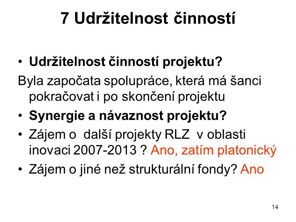 14 7 Udržitelnost činností Udržitelnost činností projektu.