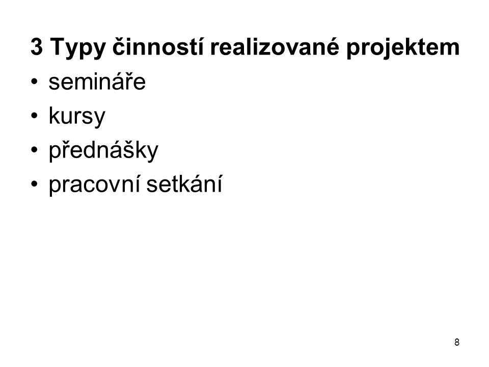 8 3 Typy činností realizované projektem semináře kursy přednášky pracovní setkání