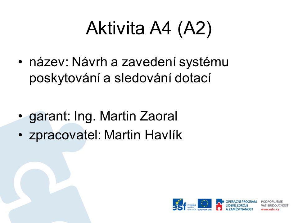 Aktivita A4 (A2) název: Návrh a zavedení systému poskytování a sledování dotací garant: Ing. Martin Zaoral zpracovatel: Martin Havlík