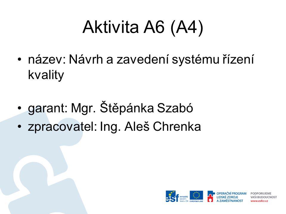 Aktivita A6 (A4) název: Návrh a zavedení systému řízení kvality garant: Mgr. Štěpánka Szabó zpracovatel: Ing. Aleš Chrenka