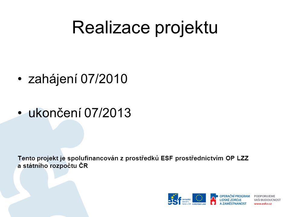 Realizace projektu zahájení 07/2010 ukončení 07/2013 Tento projekt je spolufinancován z prostředků ESF prostřednictvím OP LZZ a státního rozpočtu ČR
