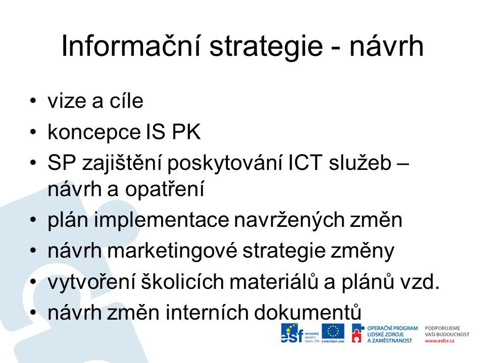 Informační strategie - návrh vize a cíle koncepce IS PK SP zajištění poskytování ICT služeb – návrh a opatření plán implementace navržených změn návrh