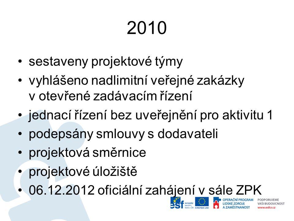 2010 sestaveny projektové týmy vyhlášeno nadlimitní veřejné zakázky v otevřené zadávacím řízení jednací řízení bez uveřejnění pro aktivitu 1 podepsány