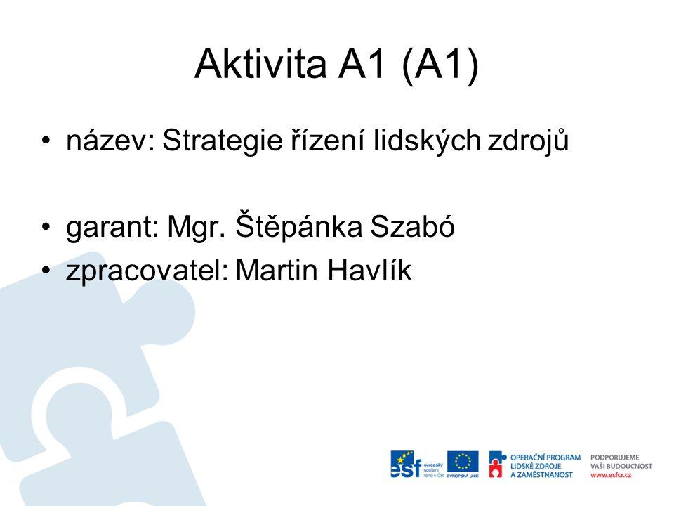 Aktivita A1 (A1) název: Strategie řízení lidských zdrojů garant: Mgr. Štěpánka Szabó zpracovatel: Martin Havlík