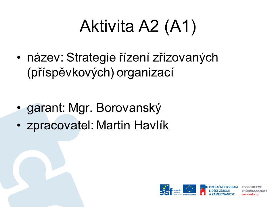 Aktivita A2 (A1) název: Strategie řízení zřizovaných (příspěvkových) organizací garant: Mgr. Borovanský zpracovatel: Martin Havlík