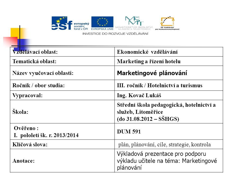 Vzdělávací oblast:Ekonomické vzdělávání Tematická oblast:Marketing a řízení hotelu Název vyučovací oblasti: Marketingové plánování Ročník / obor studia:III.