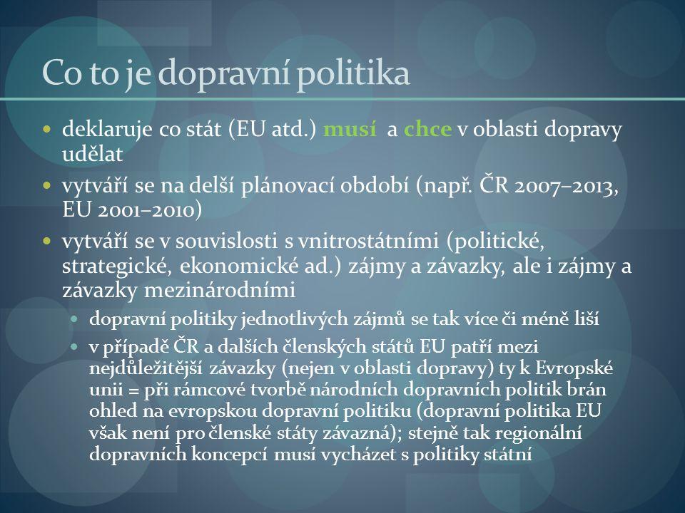 Co to je dopravní politika deklaruje co stát (EU atd.) musí a chce v oblasti dopravy udělat vytváří se na delší plánovací období (např. ČR 2007–2013,