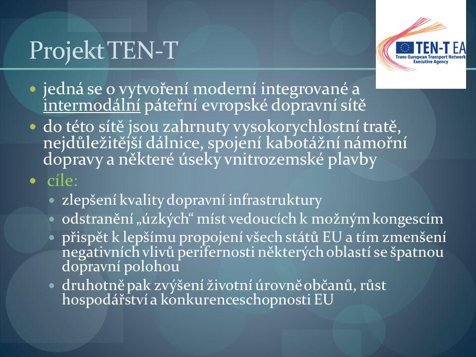 Projekt TEN-T jedná se o vytvoření moderní integrované a intermodální páteřní evropské dopravní sítě do této sítě jsou zahrnuty vysokorychlostní tratě