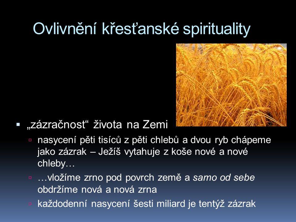 """Ovlivnění křesťanské spirituality  """"zázračnost života na Zemi  nasycení pěti tisíců z pěti chlebů a dvou ryb chápeme jako zázrak – Ježíš vytahuje z koše nové a nové chleby…  …vložíme zrno pod povrch země a samo od sebe obdržíme nová a nová zrna  každodenní nasycení šesti miliard je tentýž zázrak"""