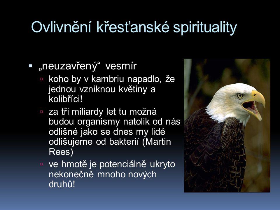 """Ovlivnění křesťanské spirituality  """"neuzavřený"""" vesmír  koho by v kambriu napadlo, že jednou vzniknou květiny a kolibříci!  za tři miliardy let tu"""