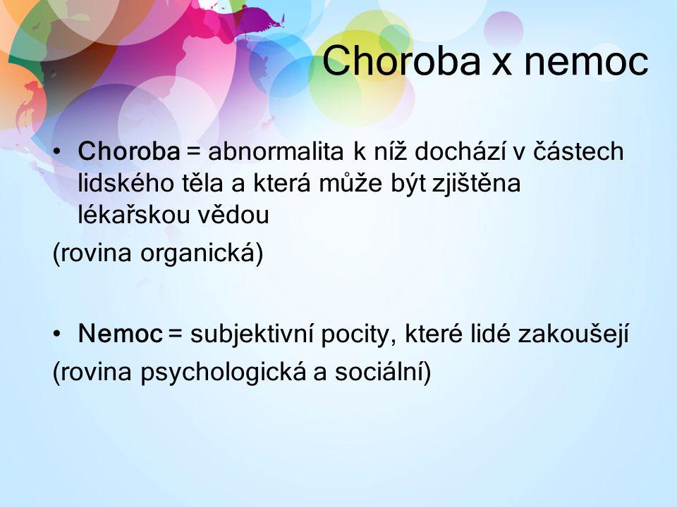 Choroba x nemoc Choroba = abnormalita k níž dochází v částech lidského těla a která může být zjištěna lékařskou vědou (rovina organická) Nemoc = subjektivní pocity, které lidé zakoušejí (rovina psychologická a sociální)