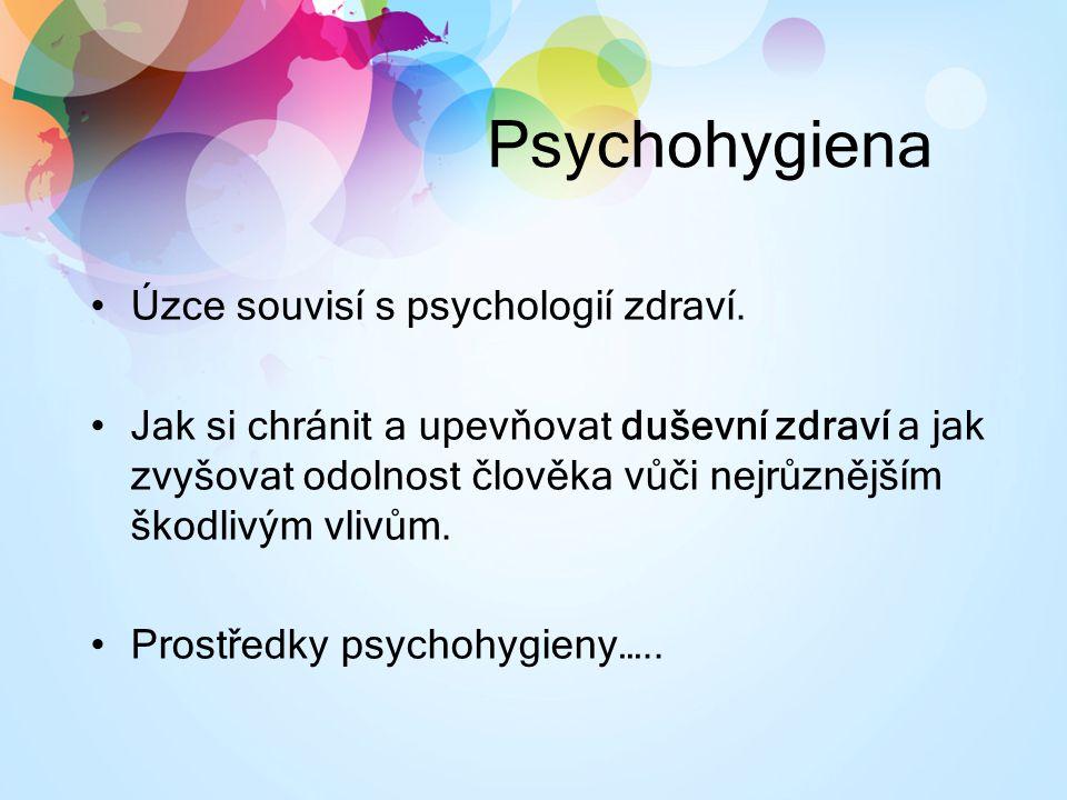 Psychohygiena Úzce souvisí s psychologií zdraví. Jak si chránit a upevňovat duševní zdraví a jak zvyšovat odolnost člověka vůči nejrůznějším škodlivým