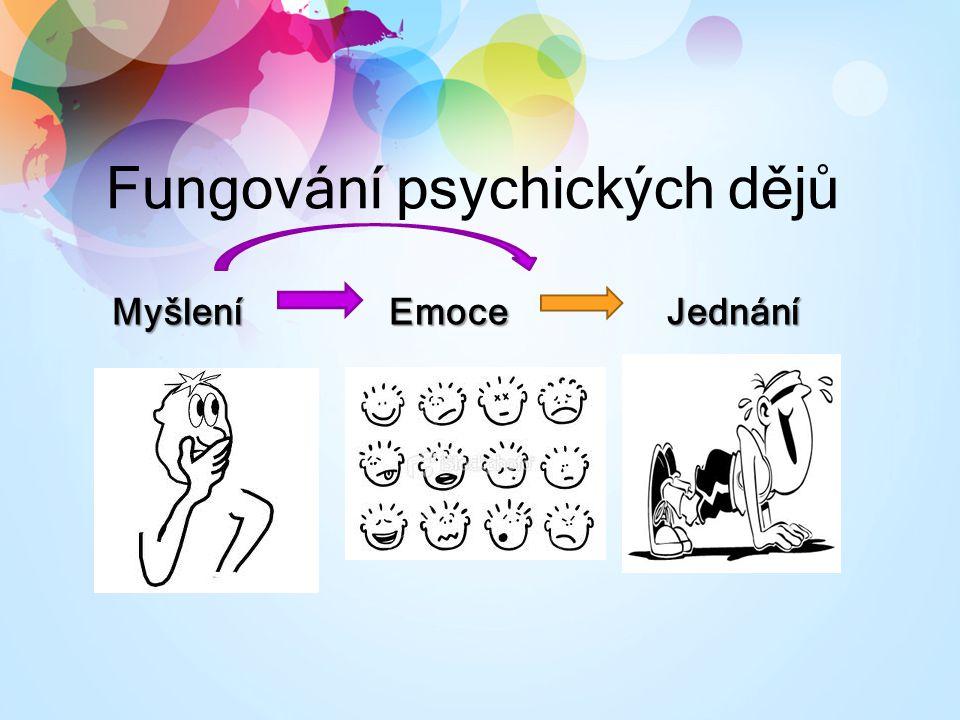 Fungování psychických dějů MyšleníEmoceJednání Myšlení Emoce Jednání