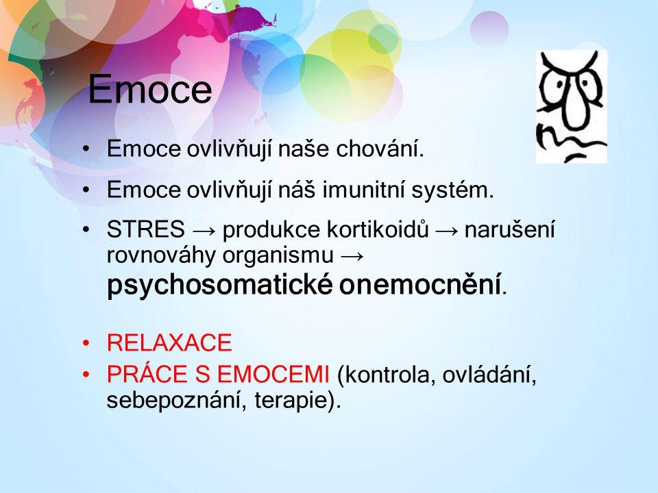 Emoce Emoce ovlivňují naše chování. Emoce ovlivňují náš imunitní systém. STRES → produkce kortikoidů → narušení rovnováhy organismu → psychosomatické