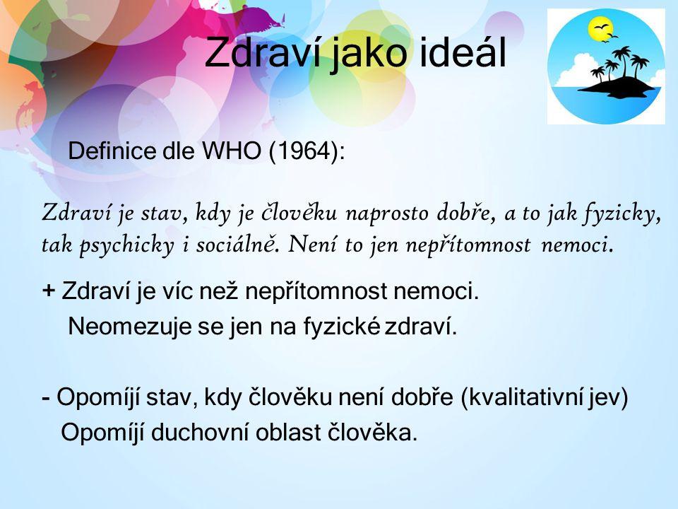 Zdraví jako ideál Definice dle WHO (1964): Zdraví je stav, kdy je č lov ě ku naprosto dob ř e, a to jak fyzicky, tak psychicky i sociáln ě.