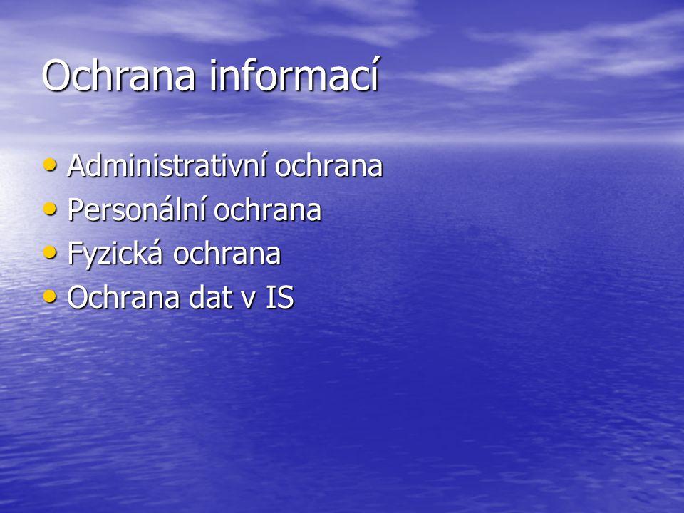 Ochrana informací Administrativní ochrana Administrativní ochrana Personální ochrana Personální ochrana Fyzická ochrana Fyzická ochrana Ochrana dat v