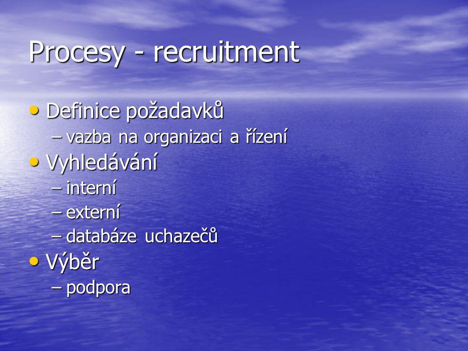 Procesy - recruitment Definice požadavků Definice požadavků –vazba na organizaci a řízení Vyhledávání Vyhledávání –interní –externí –databáze uchazečů