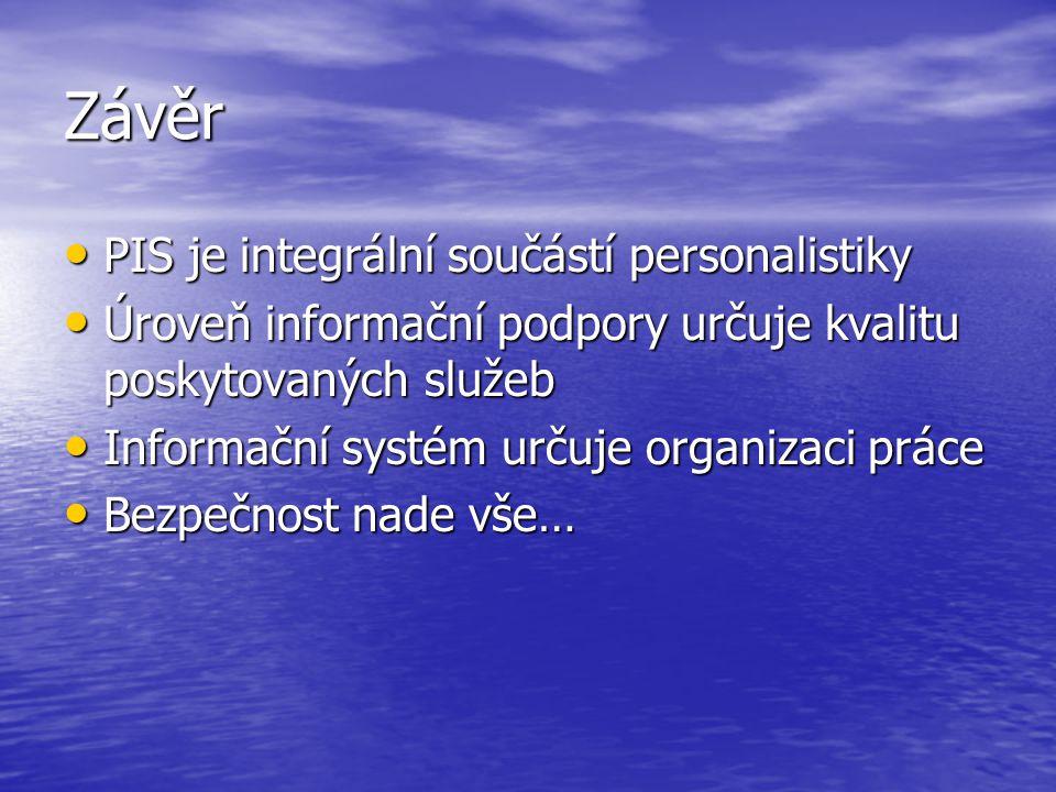Závěr PIS je integrální součástí personalistiky PIS je integrální součástí personalistiky Úroveň informační podpory určuje kvalitu poskytovaných služe