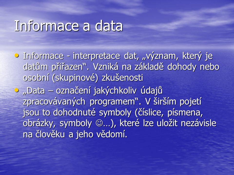 """Informace a data Informace - interpretace dat, """"význam, který je datům přiřazen"""". Vzniká na základě dohody nebo osobní (skupinové) zkušenosti Informac"""