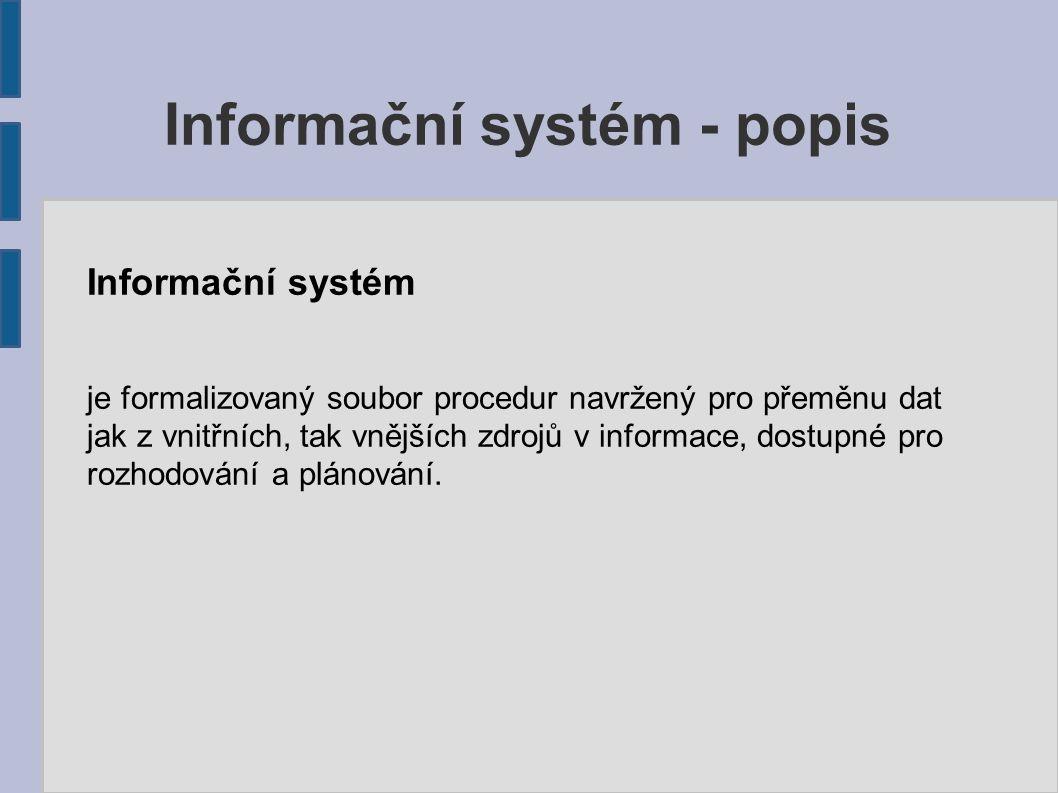 Informační systém je formalizovaný soubor procedur navržený pro přeměnu dat jak z vnitřních, tak vnějších zdrojů v informace, dostupné pro rozhodování