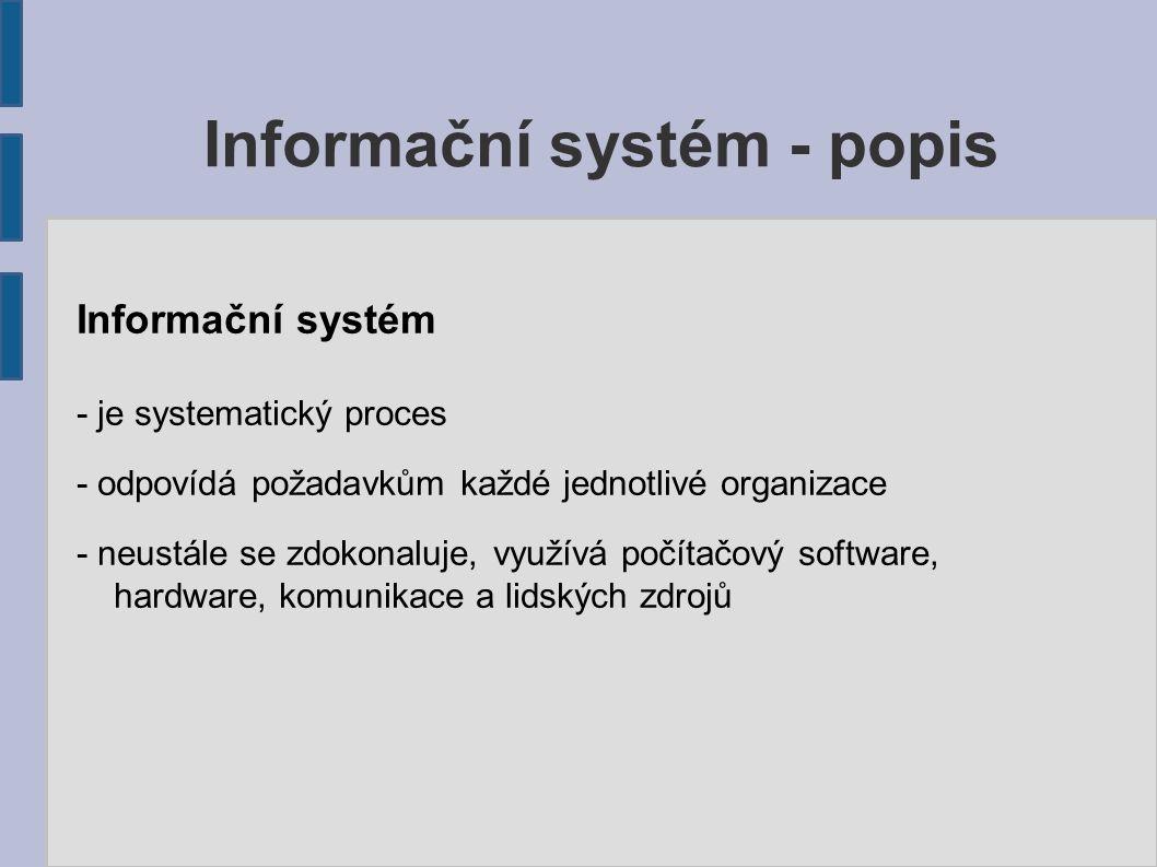 Informační systém - je systematický proces - odpovídá požadavkům každé jednotlivé organizace - neustále se zdokonaluje, využívá počítačový software, h
