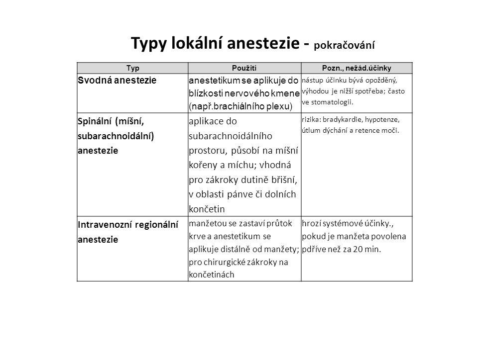TypPoužitíPozn., nežád.účinky Svodná anestezie anestetikum se aplikuje do blízkosti nervového kmene (např.brachiálního plexu) nástup účinku bývá opožd