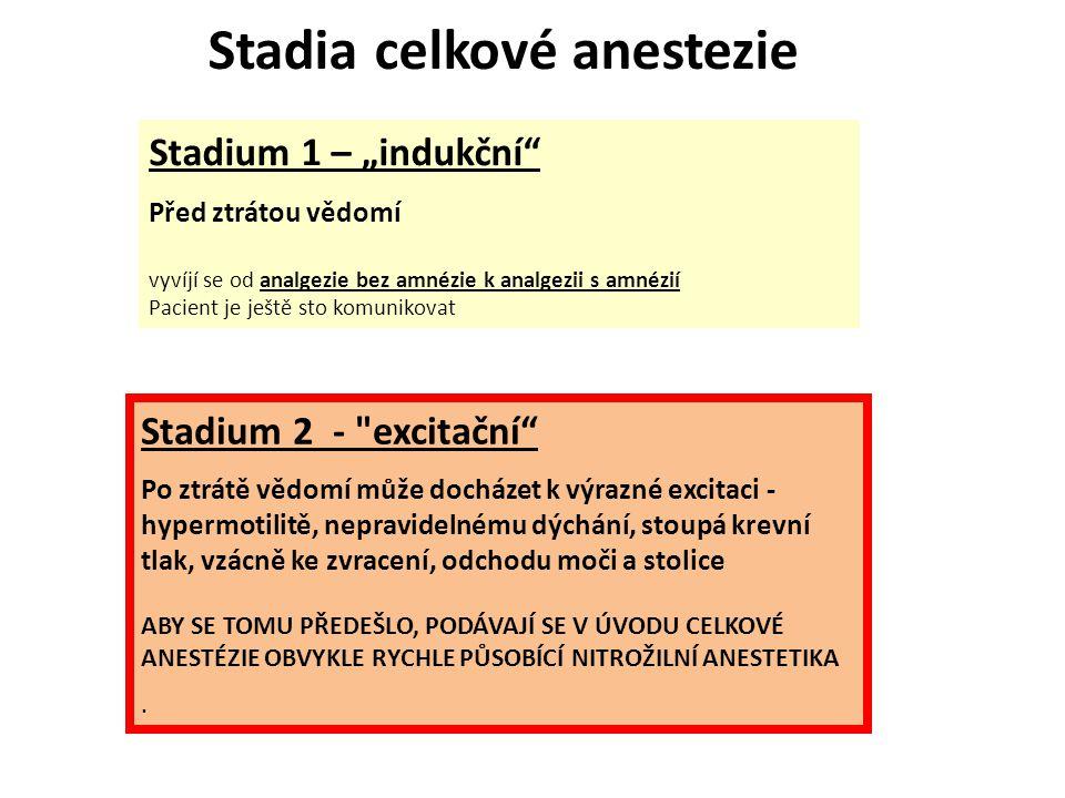 """Stadium 1 – """"indukční"""" Před ztrátou vědomí vyvíjí se od analgezie bez amnézie k analgezii s amnézií Pacient je ještě sto komunikovat Stadium 2 -"""