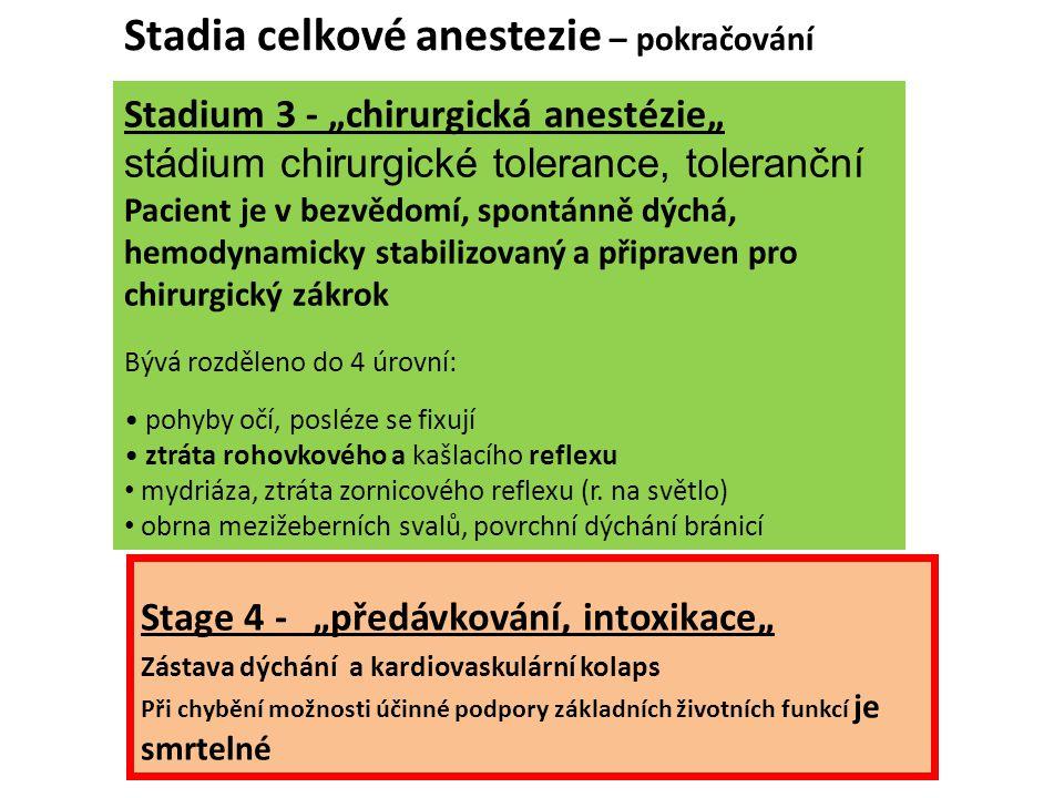 """Stadium 3 - """"chirurgická anestézie"""" stádium chirurgické tolerance, toleranční Pacient je v bezvědomí, spontánně dýchá, hemodynamicky stabilizovaný a p"""