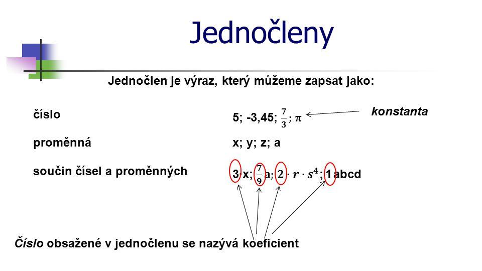 Jednočleny Jednočlen se snažíme zapsat vždy co nejkratším zápisem: 3·4·x·x·x·x·y·y Zapište stručně jednočleny: = 12·x 4 ·y 2 1) 3·a·b·0,5·a·a·a·b·b = = 12x 4 y 2 1,5a 4 b 3 2p 2 q 6