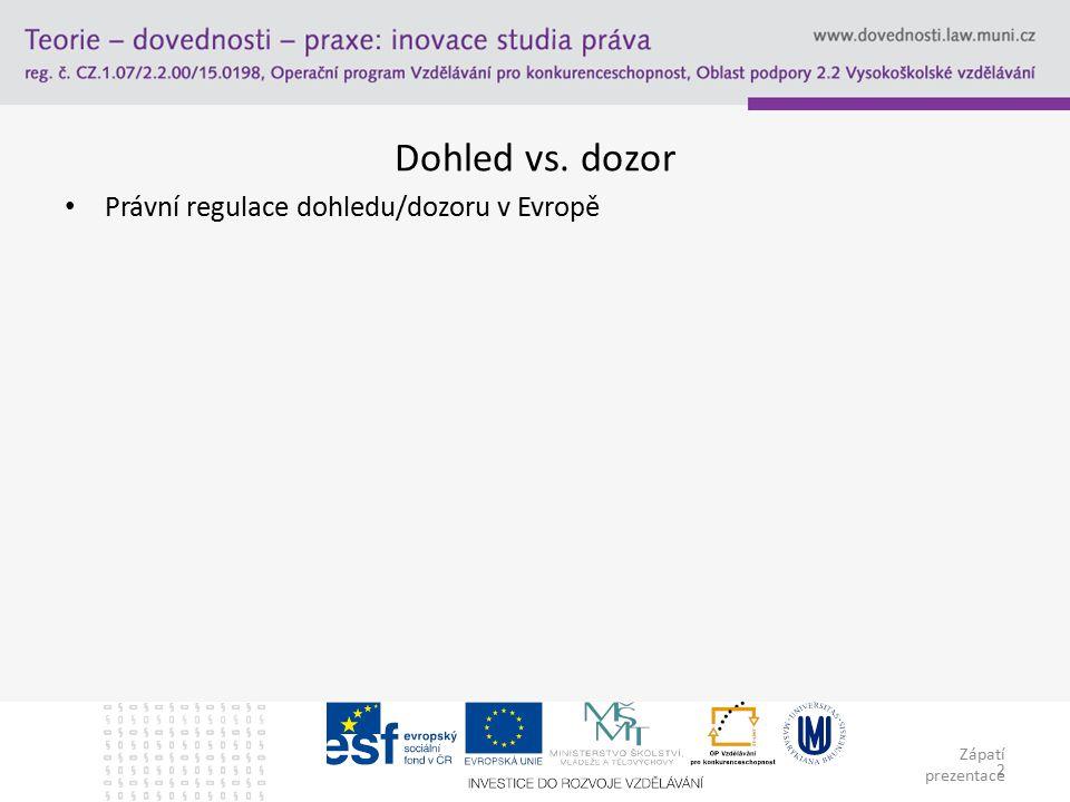 Zápatí prezentace 2 Dohled vs. dozor Právní regulace dohledu/dozoru v Evropě