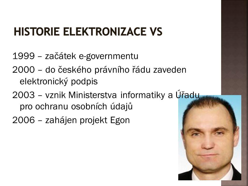 1999 – začátek e-governmentu 2000 – do českého právního řádu zaveden elektronický podpis 2003 – vznik Ministerstva informatiky a Úřadu pro ochranu oso