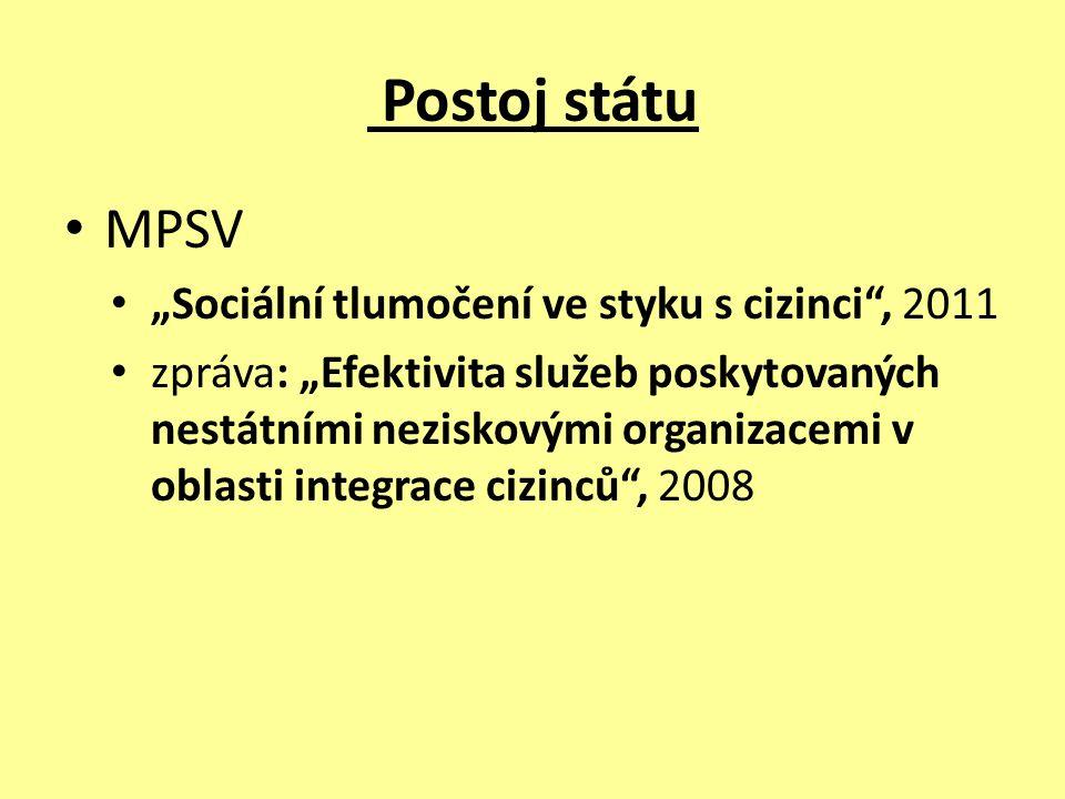 Postoj státu MPSV – jazyková bariéra + nezaměstnanost cizinců – uznává význam tlumočení – dlouhodobý cíl: zvyšovat informovanost migrantů