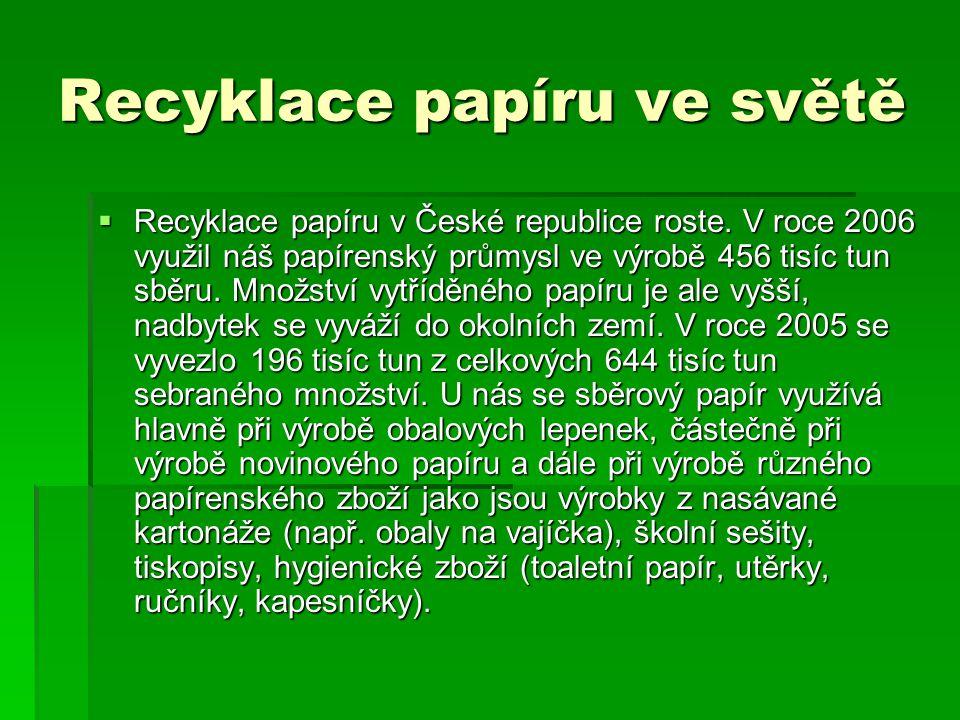 Recyklace papíru ve světě  Recyklace papíru v České republice roste. V roce 2006 využil náš papírenský průmysl ve výrobě 456 tisíc tun sběru. Množstv