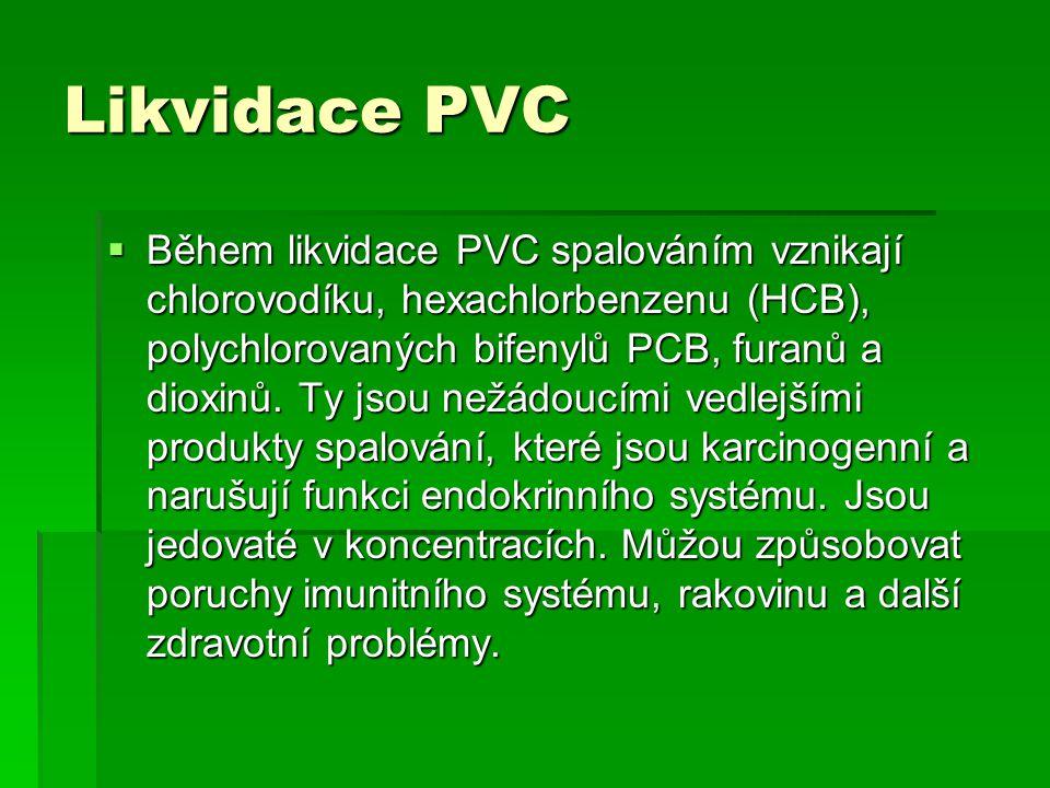 Likvidace PVC  Během likvidace PVC spalováním vznikají chlorovodíku, hexachlorbenzenu (HCB), polychlorovaných bifenylů PCB, furanů a dioxinů. Ty jsou