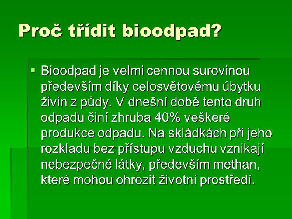 Proč třídit bioodpad?  Bioodpad je velmi cennou surovinou především díky celosvětovému úbytku živin z půdy. V dnešní době tento druh odpadu činí zhru