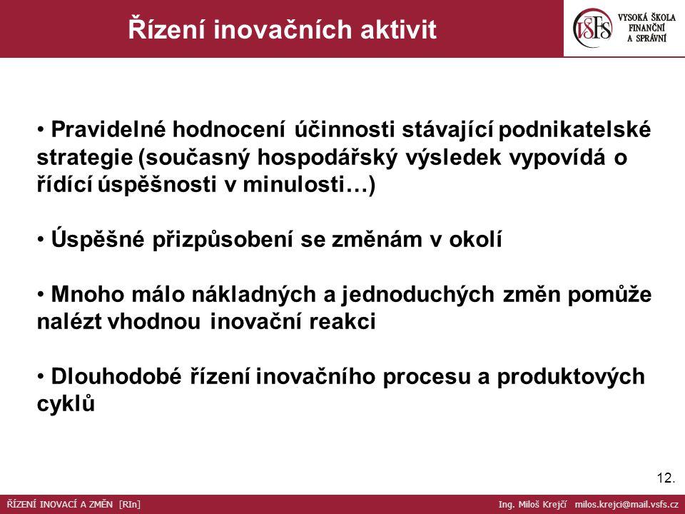12. Řízení inovačních aktivit Pravidelné hodnocení účinnosti stávající podnikatelské strategie (současný hospodářský výsledek vypovídá o řídící úspěšn