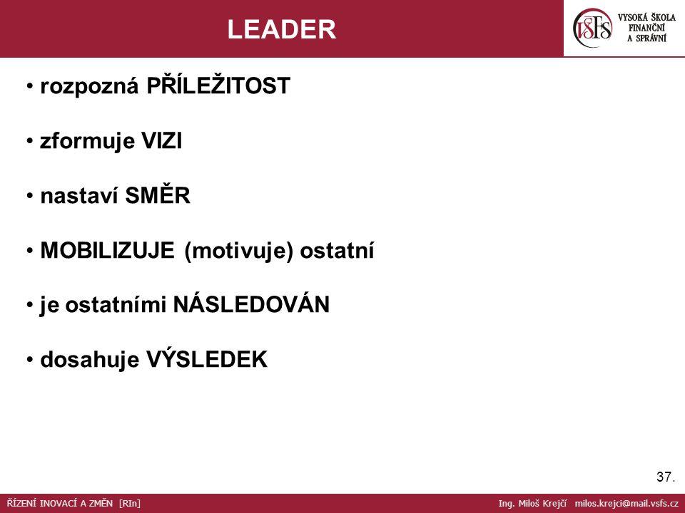 37. LEADER ŘÍZENÍ INOVACÍ A ZMĚN [RIn] Ing. Miloš Krejčí milos.krejci@mail.vsfs.cz rozpozná PŘÍLEŽITOST zformuje VIZI nastaví SMĚR MOBILIZUJE (motivuj