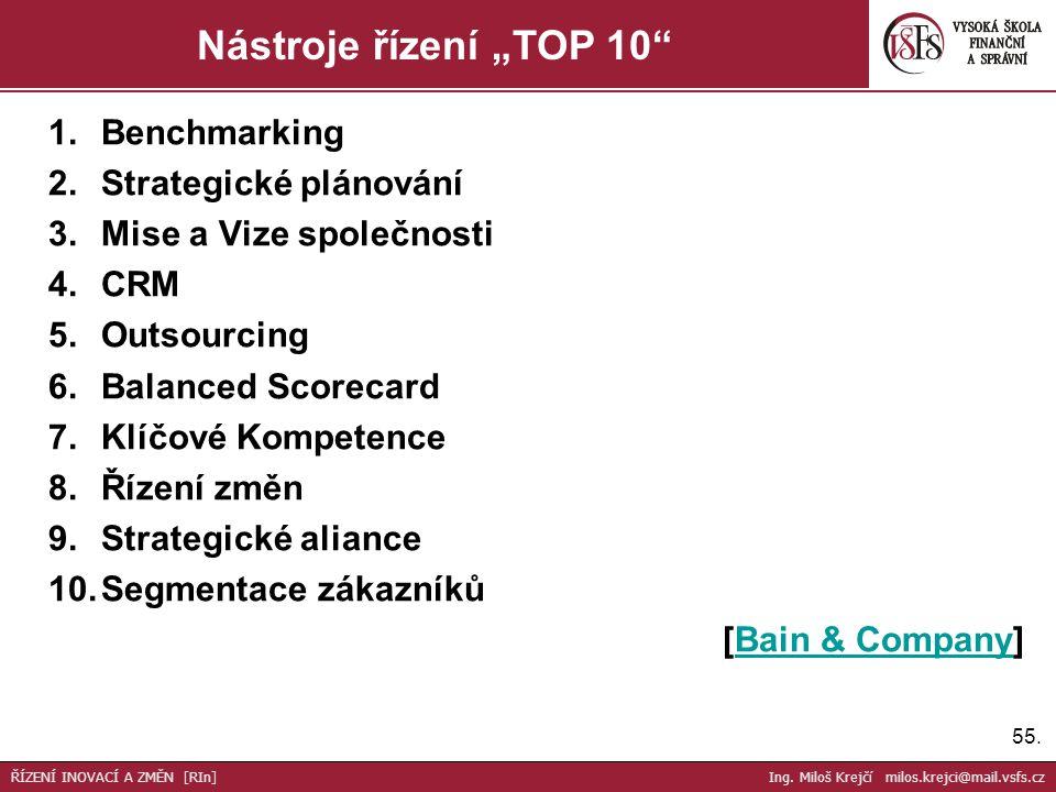 """55. Nástroje řízení """"TOP 10"""" ŘÍZENÍ INOVACÍ A ZMĚN [RIn] Ing. Miloš Krejčí milos.krejci@mail.vsfs.cz 1.Benchmarking 2.Strategické plánování 3.Mise a V"""
