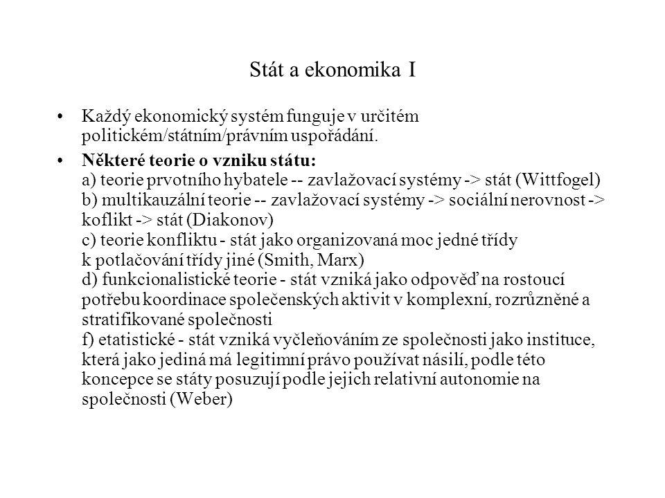 Stát a ekonomika I Každý ekonomický systém funguje v určitém politickém/státním/právním uspořádání. Některé teorie o vzniku státu: a) teorie prvotního