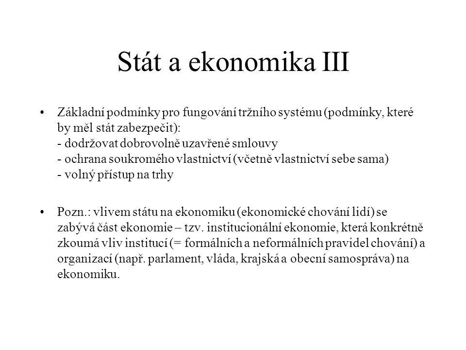 Stát a ekonomika III Základní podmínky pro fungování tržního systému (podmínky, které by měl stát zabezpečit): - dodržovat dobrovolně uzavřené smlouvy
