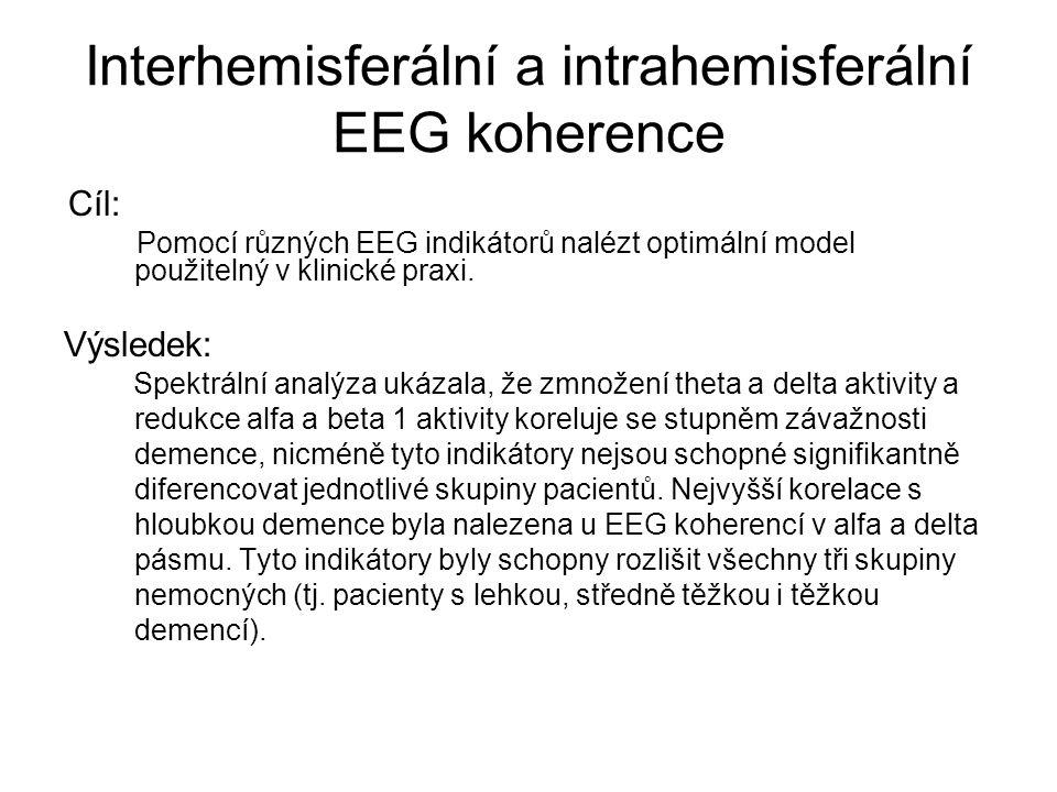 Interhemisferální a intrahemisferální EEG koherence Cíl: Pomocí různých EEG indikátorů nalézt optimální model použitelný v klinické praxi. Výsledek: S