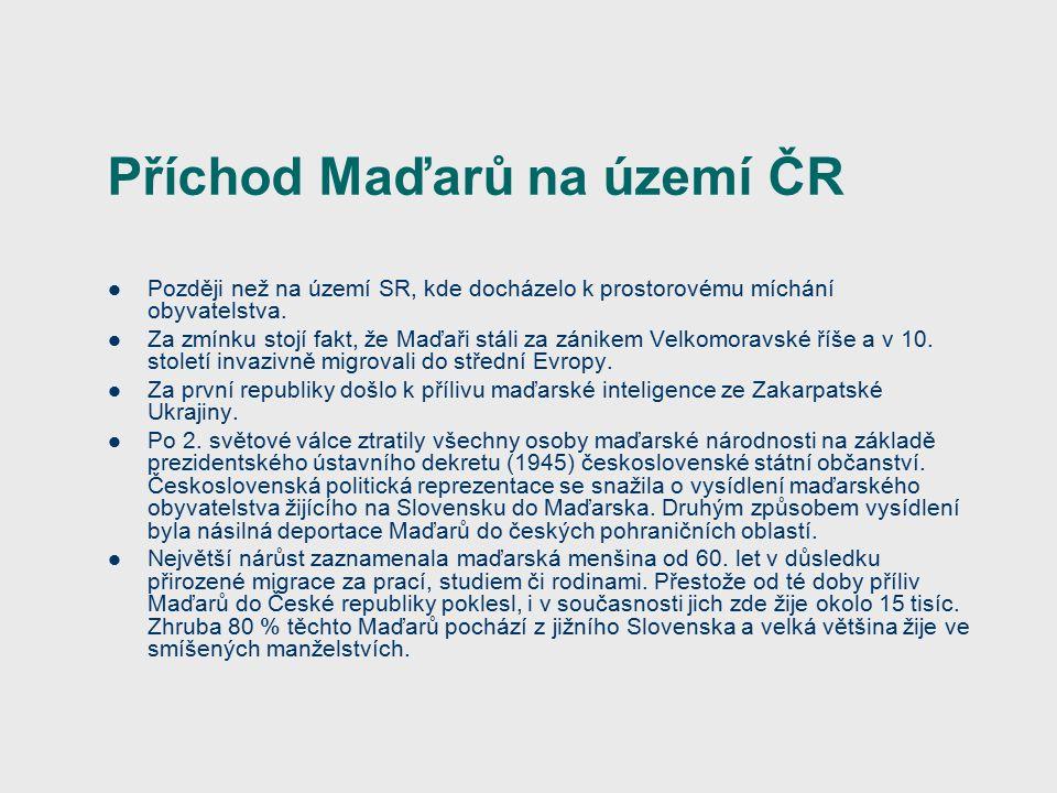 Příchod Maďarů na území ČR Později než na území SR, kde docházelo k prostorovému míchání obyvatelstva.
