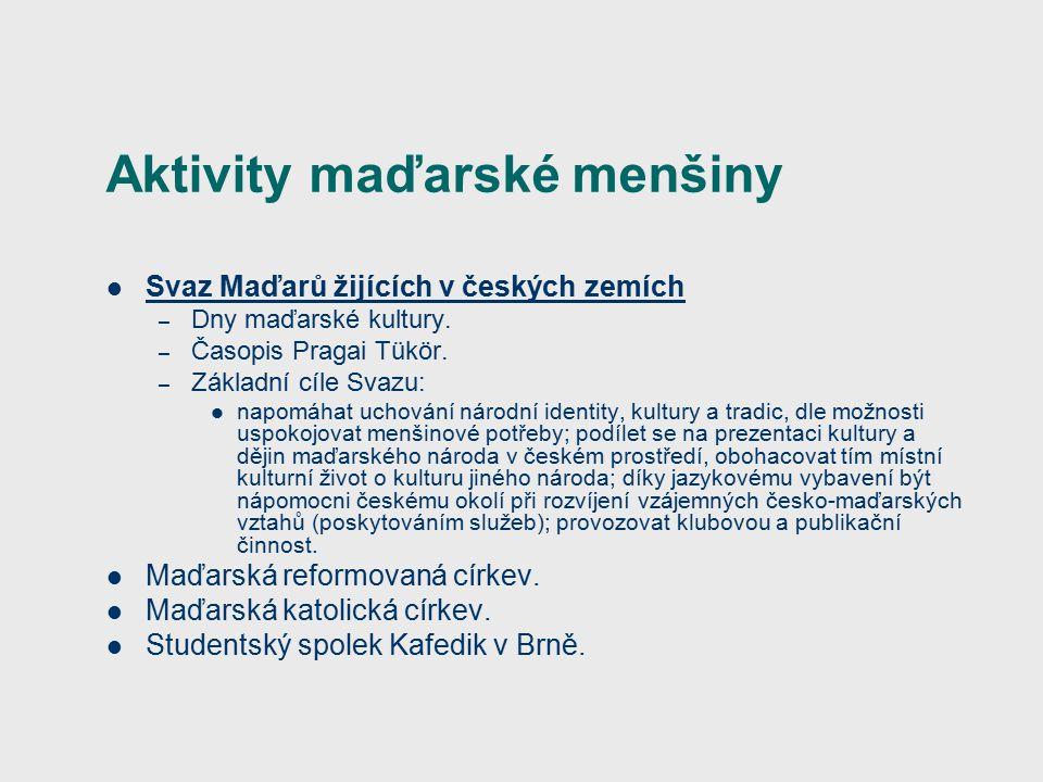 Aktivity maďarské menšiny Svaz Maďarů žijících v českých zemích – Dny maďarské kultury.