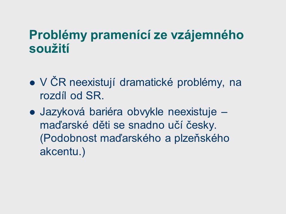 Problémy pramenící ze vzájemného soužití V ČR neexistují dramatické problémy, na rozdíl od SR.