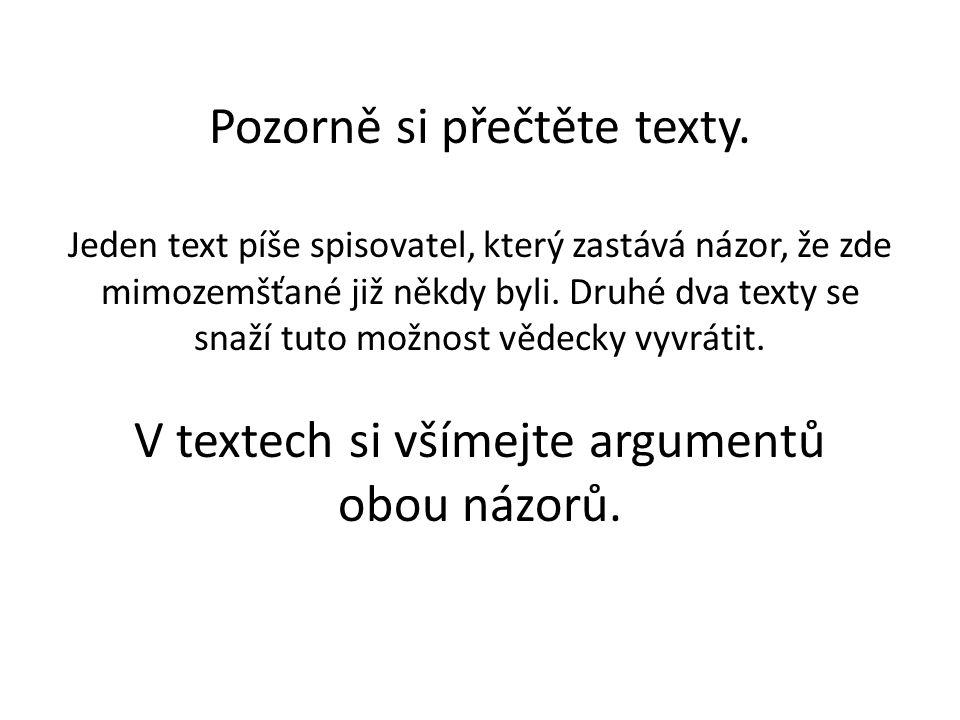 Pozorně si přečtěte texty.