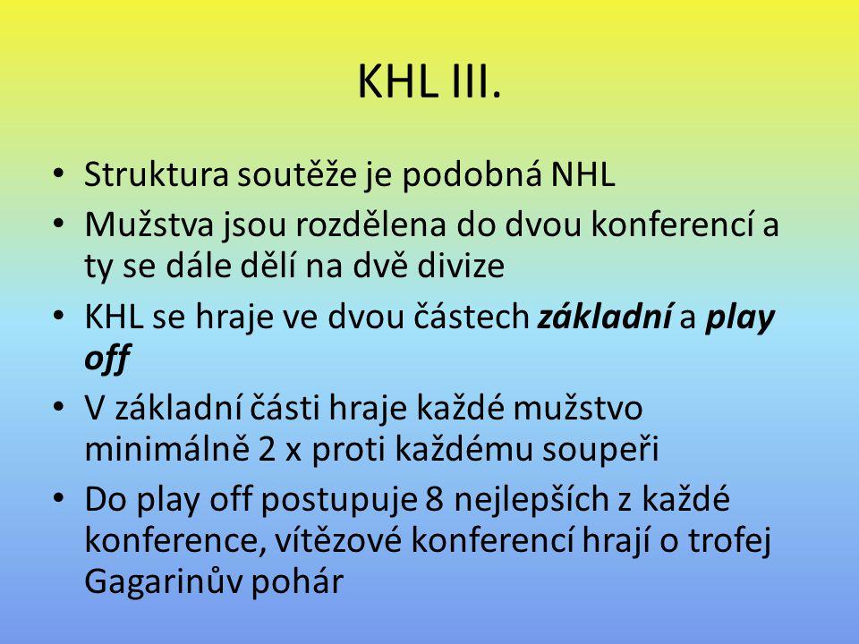 KHL III. Struktura soutěže je podobná NHL Mužstva jsou rozdělena do dvou konferencí a ty se dále dělí na dvě divize KHL se hraje ve dvou částech zákla