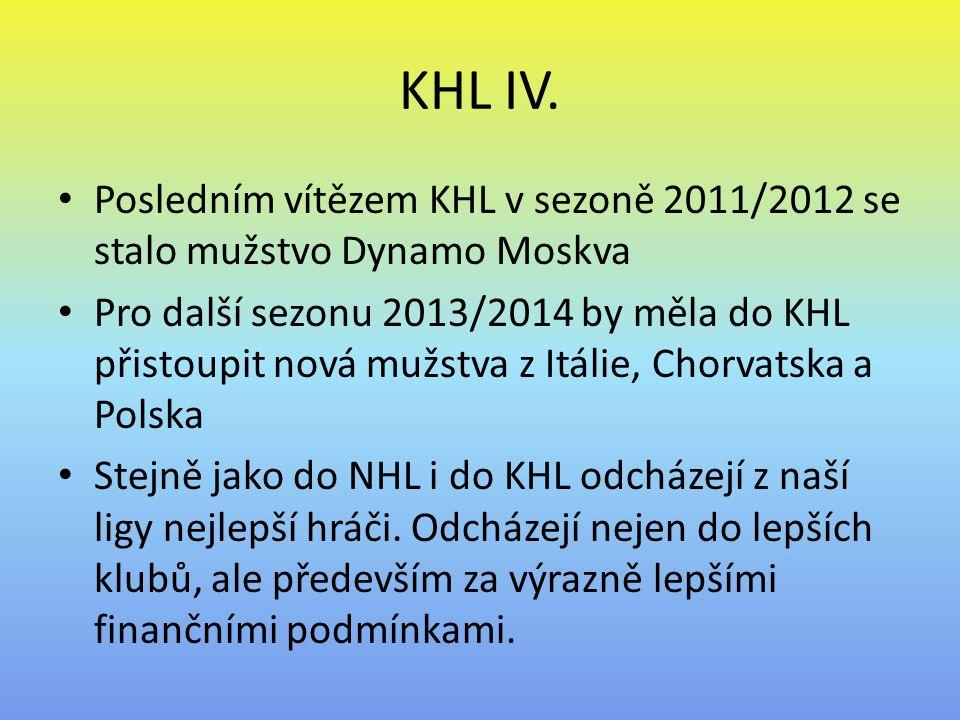 KHL IV. Posledním vítězem KHL v sezoně 2011/2012 se stalo mužstvo Dynamo Moskva Pro další sezonu 2013/2014 by měla do KHL přistoupit nová mužstva z It