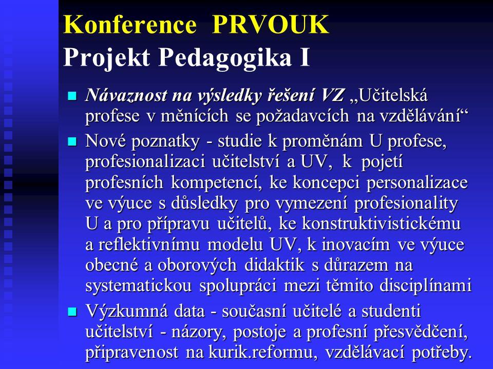 """Konference PRVOUK Projekt Pedagogika I Návaznost na výsledky řešení VZ """"Učitelská profese v měnících se požadavcích na vzdělávání"""" Návaznost na výsled"""