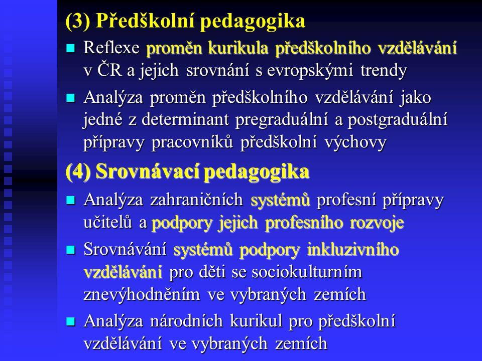 (3) Předškolní pedagogika Reflexe proměn kurikula předškolního vzdělávání v ČR a jejich srovnání s evropskými trendy Reflexe proměn kurikula předškolního vzdělávání v ČR a jejich srovnání s evropskými trendy Analýza proměn předškolního vzdělávání jako jedné z determinant pregraduální a postgraduální přípravy pracovníků předškolní výchovy Analýza proměn předškolního vzdělávání jako jedné z determinant pregraduální a postgraduální přípravy pracovníků předškolní výchovy (4) Srovnávací pedagogika Analýza zahraničních systémů profesní přípravy učitelů a podpory jejich profesního rozvoje Analýza zahraničních systémů profesní přípravy učitelů a podpory jejich profesního rozvoje Srovnávání systémů podpory inkluzivního vzdělávání pro děti se sociokulturním znevýhodněním ve vybraných zemích Srovnávání systémů podpory inkluzivního vzdělávání pro děti se sociokulturním znevýhodněním ve vybraných zemích Analýza národních kurikul pro předškolní vzdělávání ve vybraných zemích Analýza národních kurikul pro předškolní vzdělávání ve vybraných zemích